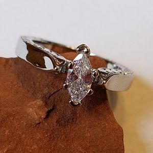 1.5 CT ANGLED MARQUISE CZ & 925 STERLING SLVR RING